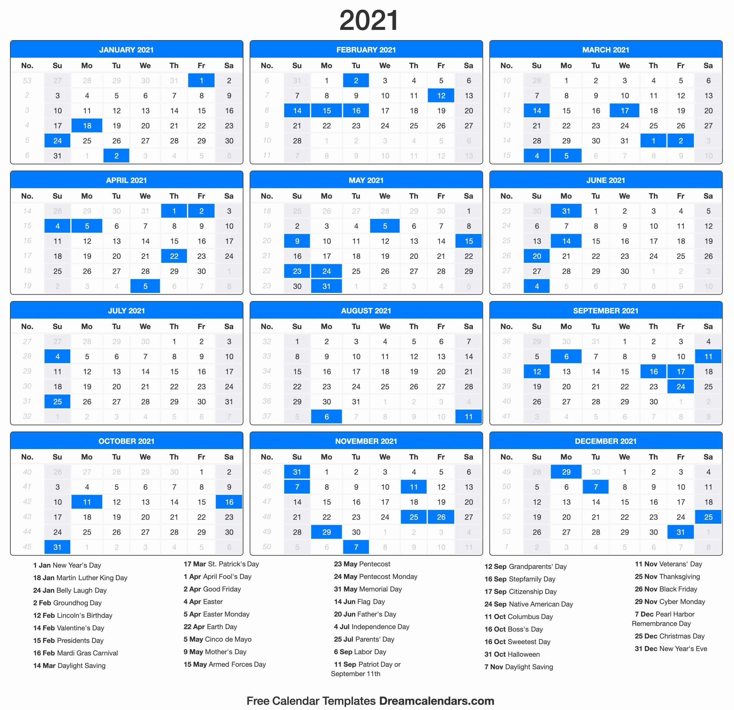 Printable Calendar 2021 | Calendar Printables, 2021