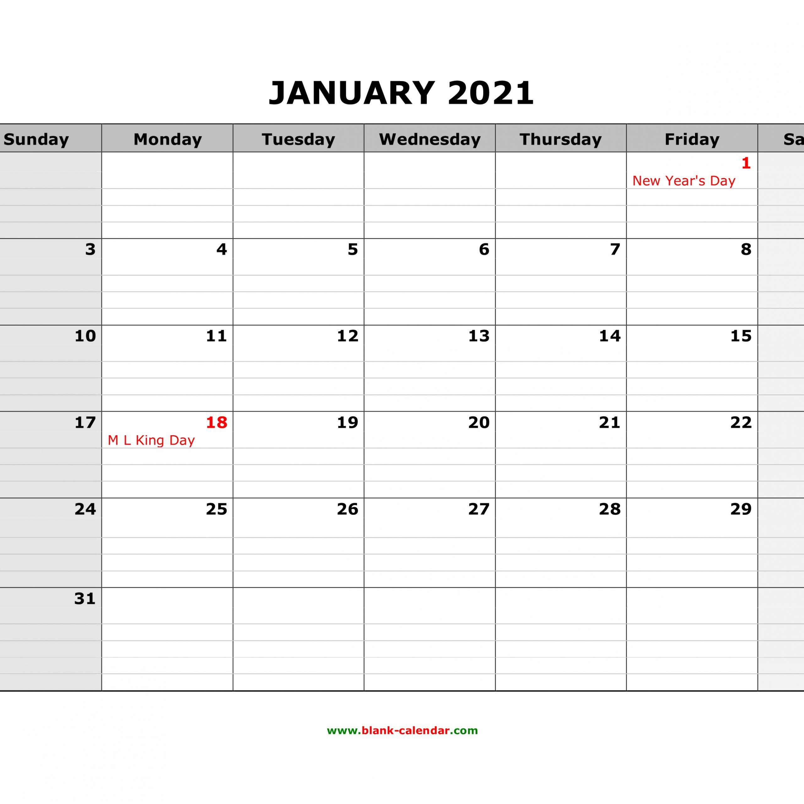 Printable Calendar 2021 Large Boxes   Free Printable Calendar 2021