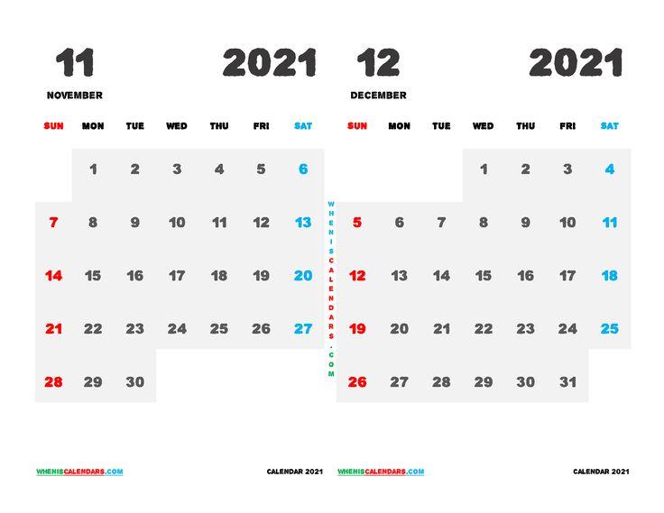 Printable Calendar 2021 November December (12 Templates