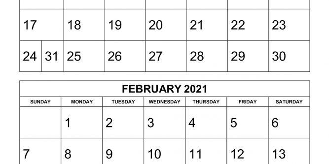 Printable Calendar 2021 Two Months Per Page | Free Printable Calendar 2021