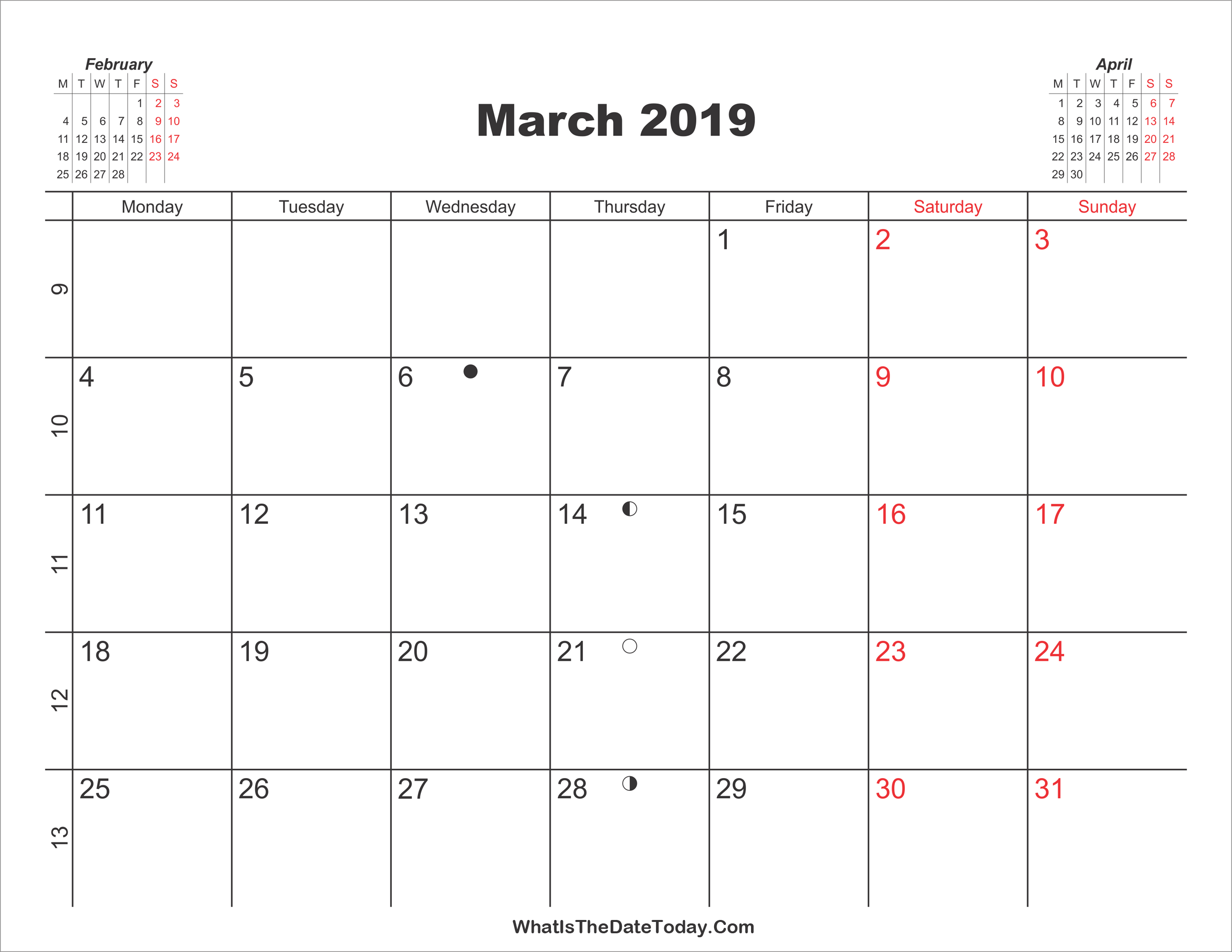 Printable Calendar March 2019   Whatisthedatetoday