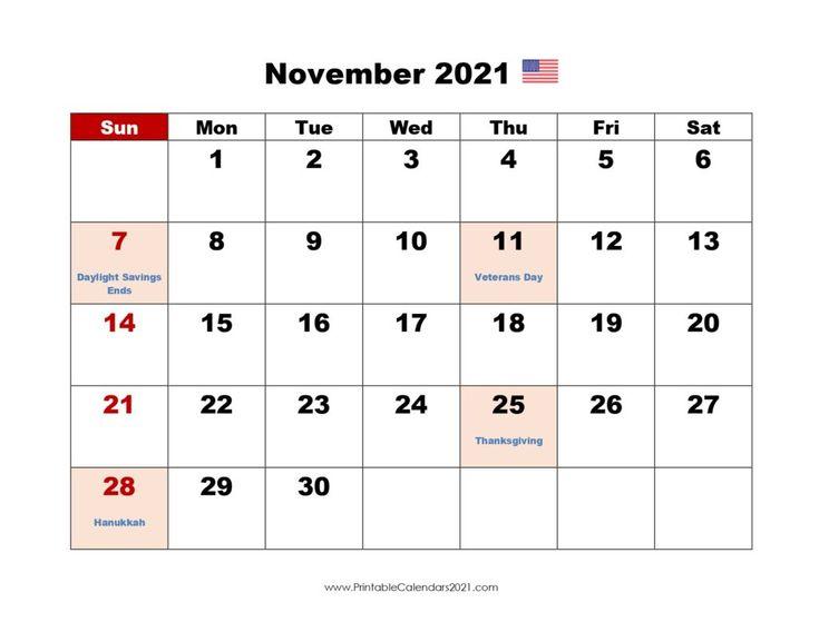 Printable Calendar November 2021, Printable 2021 Calendar With Holidays In 2020   2021 Calendar