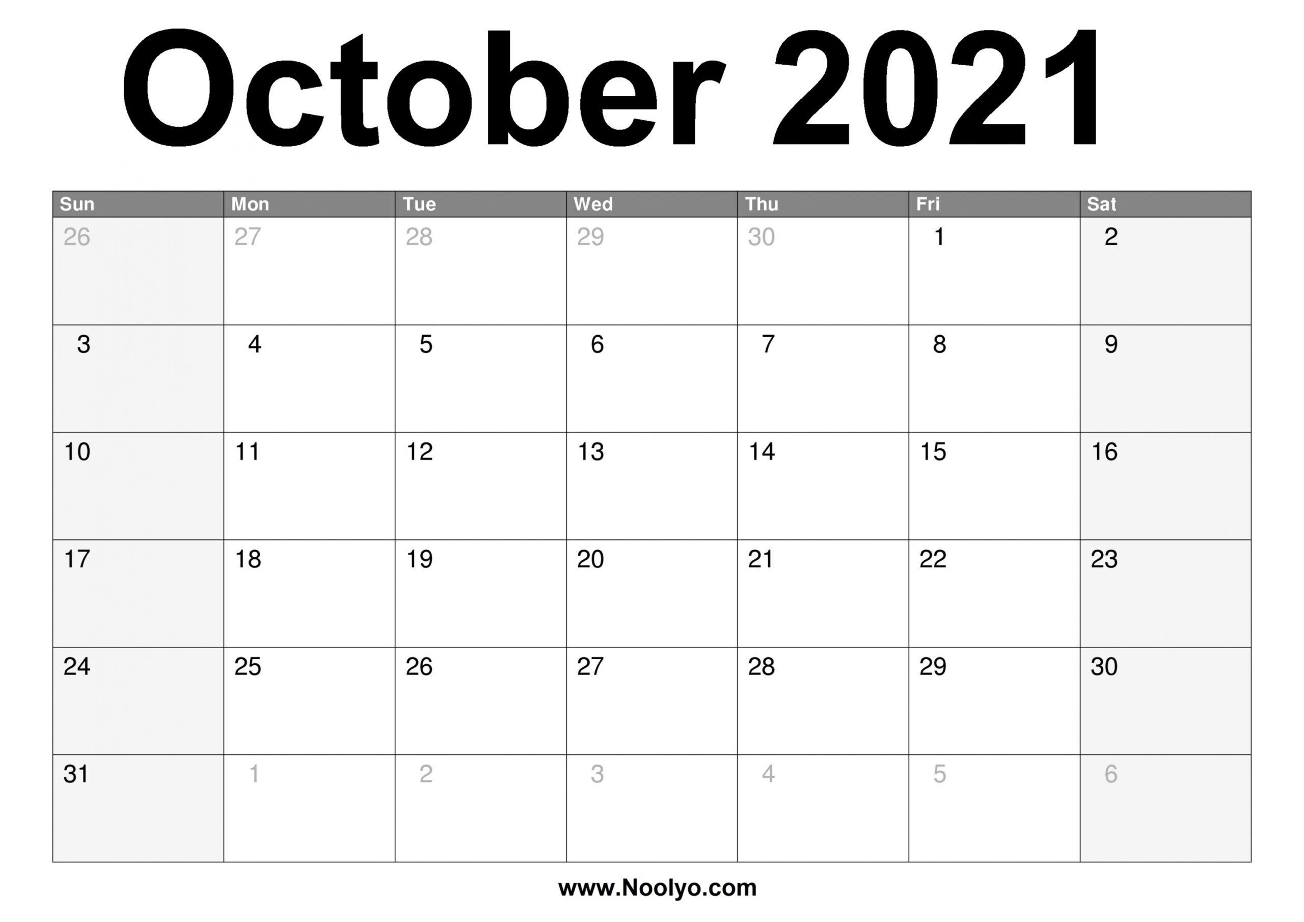 Printable Calendar October 2021 | Free Letter Templates