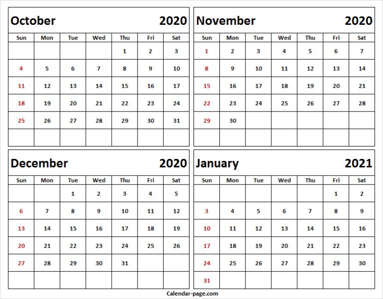 Printable Calendar October November December 2020 And