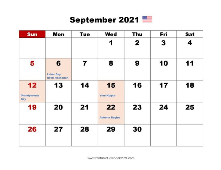 Printable Calendar September 2021, Printable 2021 Calendar