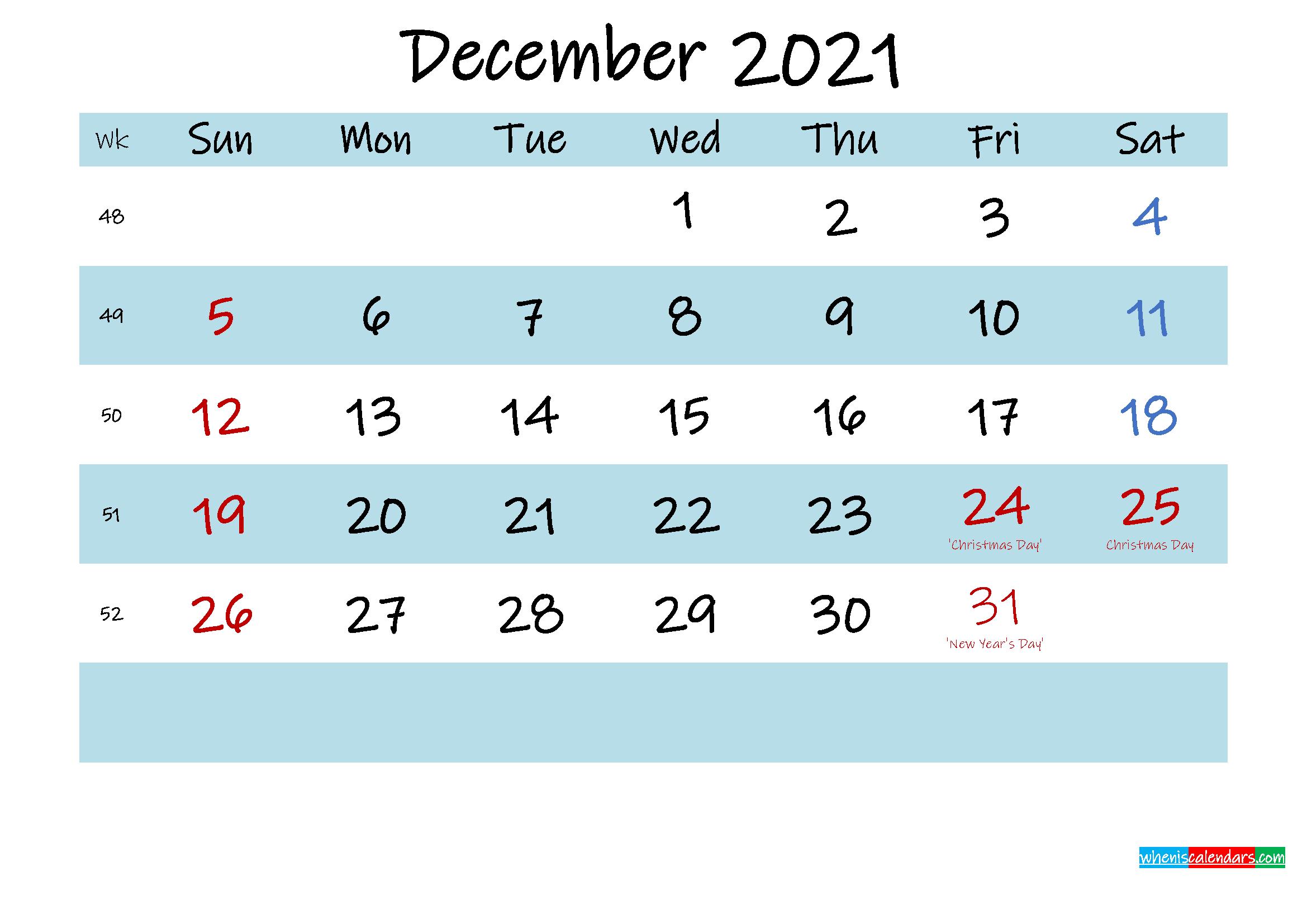 Printable December 2021 Calendar Pdf - Template No