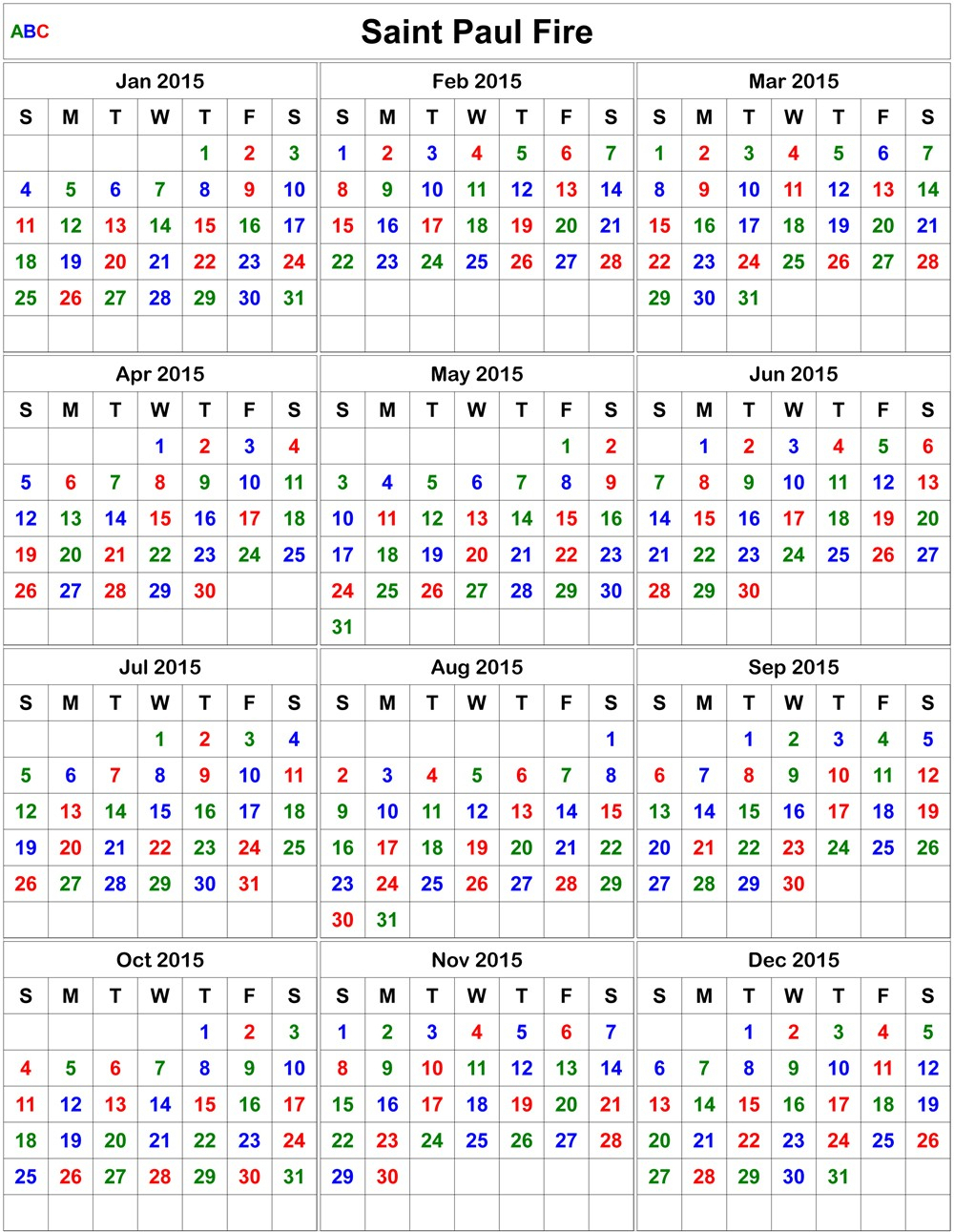 Printable Firefighter Calendar 2020 | Example Calendar