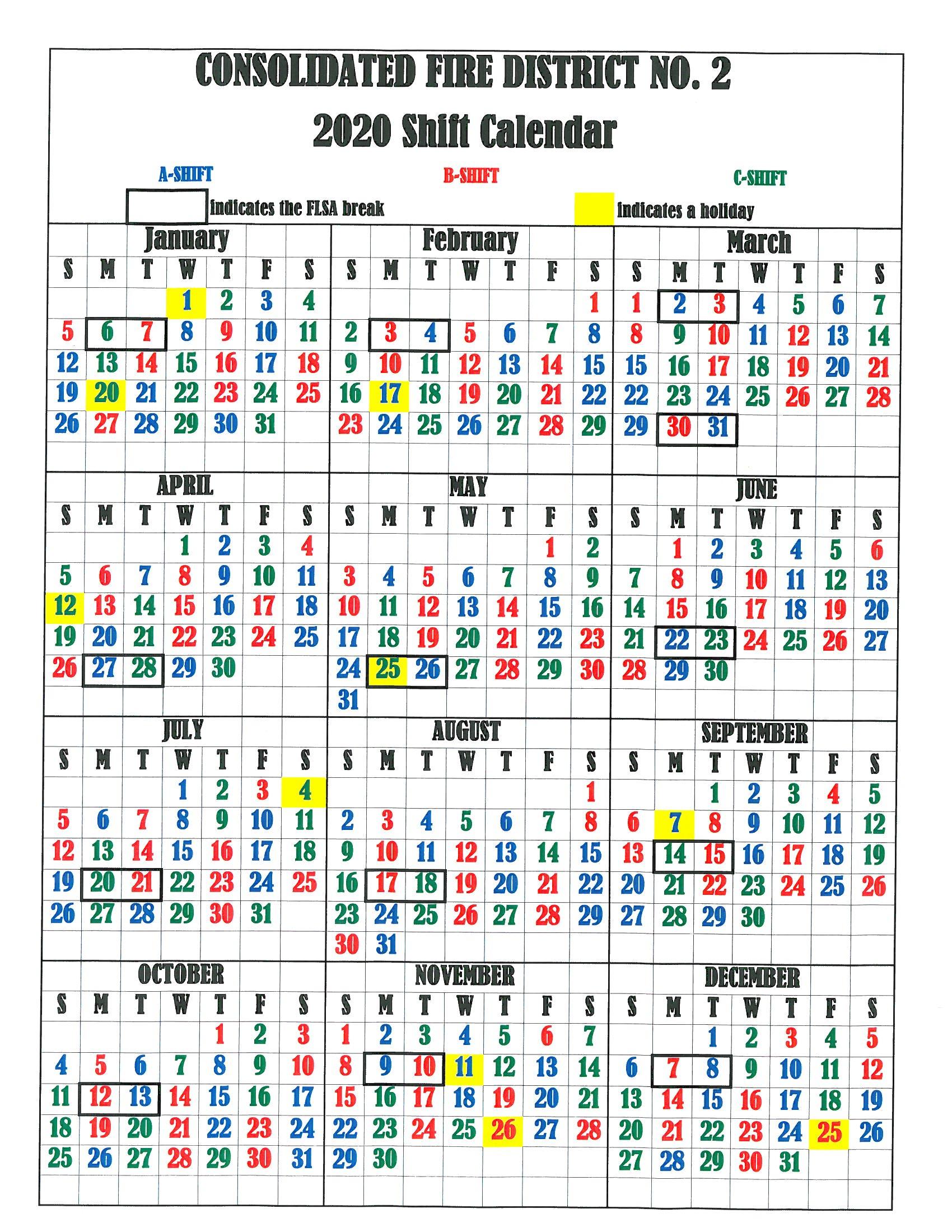 Printable Firefighter Shift Calendar - Calendar Printable Free