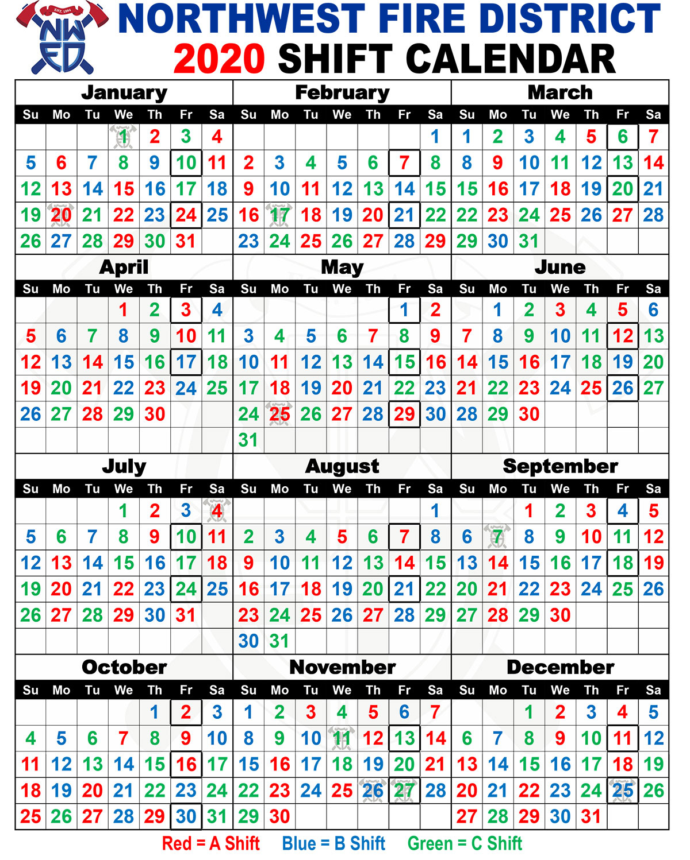 Printable Firefighter Shift Calender   Example Calendar