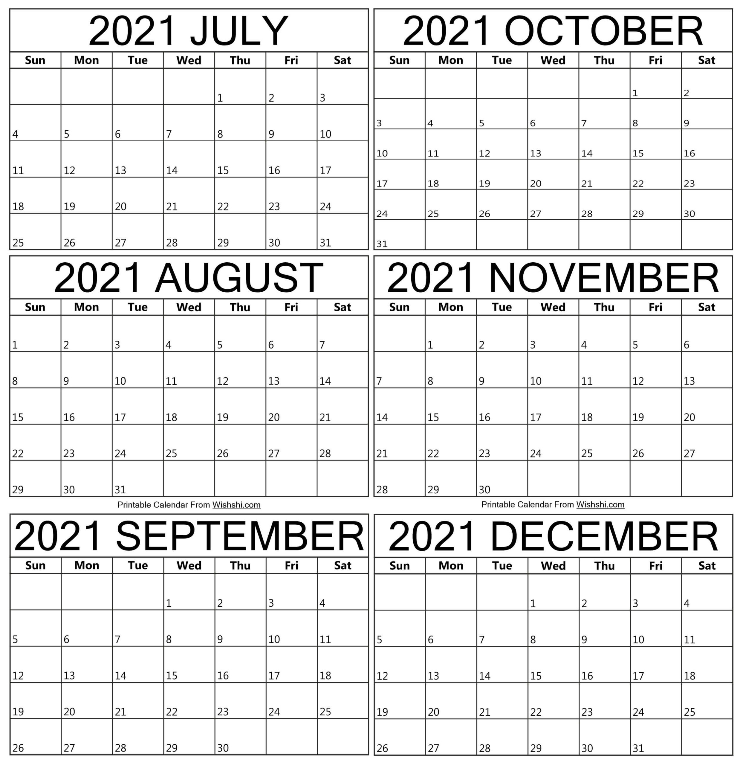 Printable July To December 2021 Calendar - Free Printable