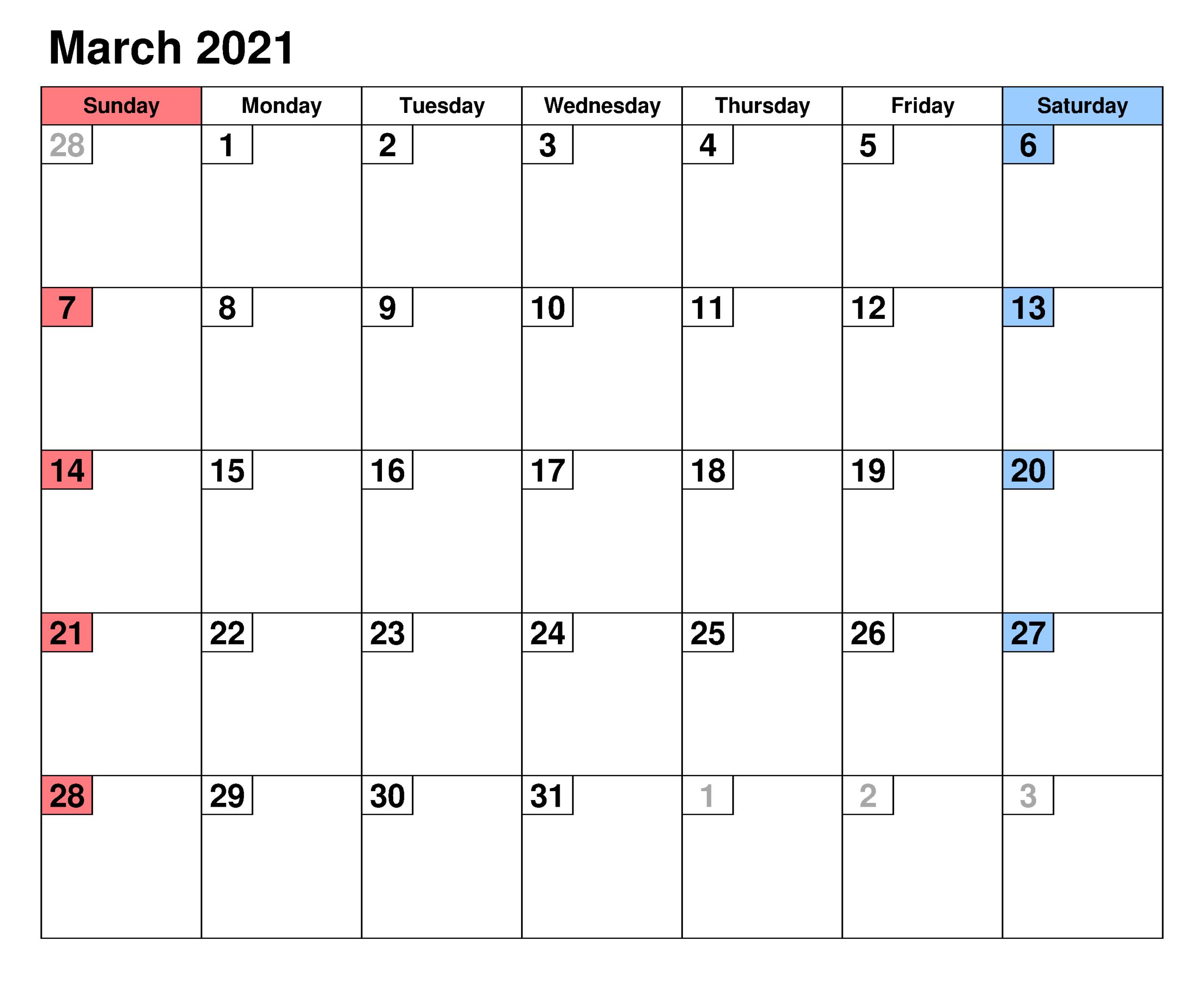 Printable March 2021 Calendar With Holidays - Zhudamodel