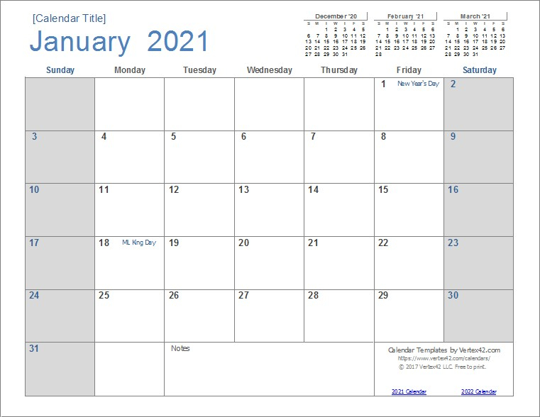 Printable Monthly Calendar 2021 Big Font Free Usage   Free