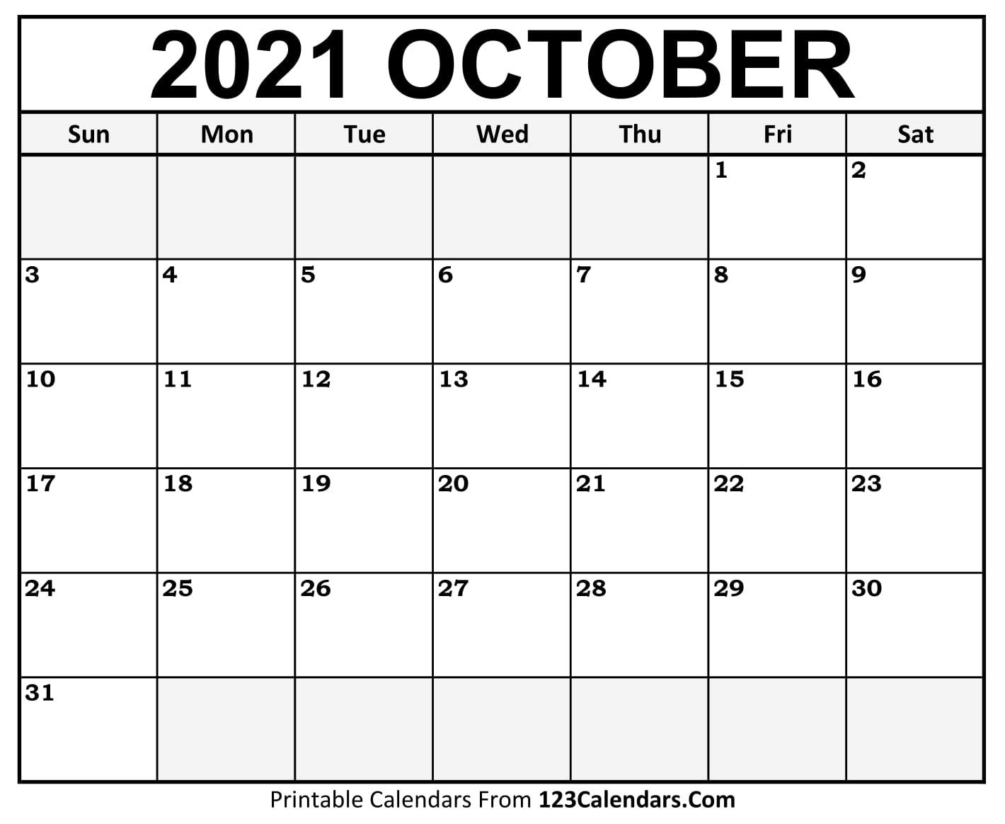 Printable October 2021 Calendar Templates | 123Calendars