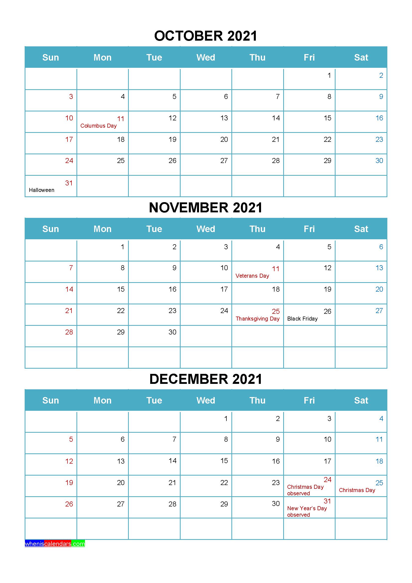 Printable October November December 2021 Calendar | Free