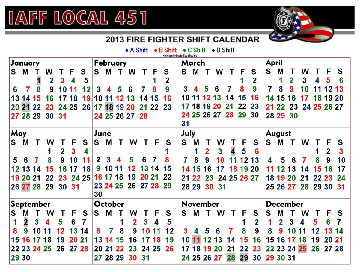 Printable Shift Calendars For Firefighters   Example