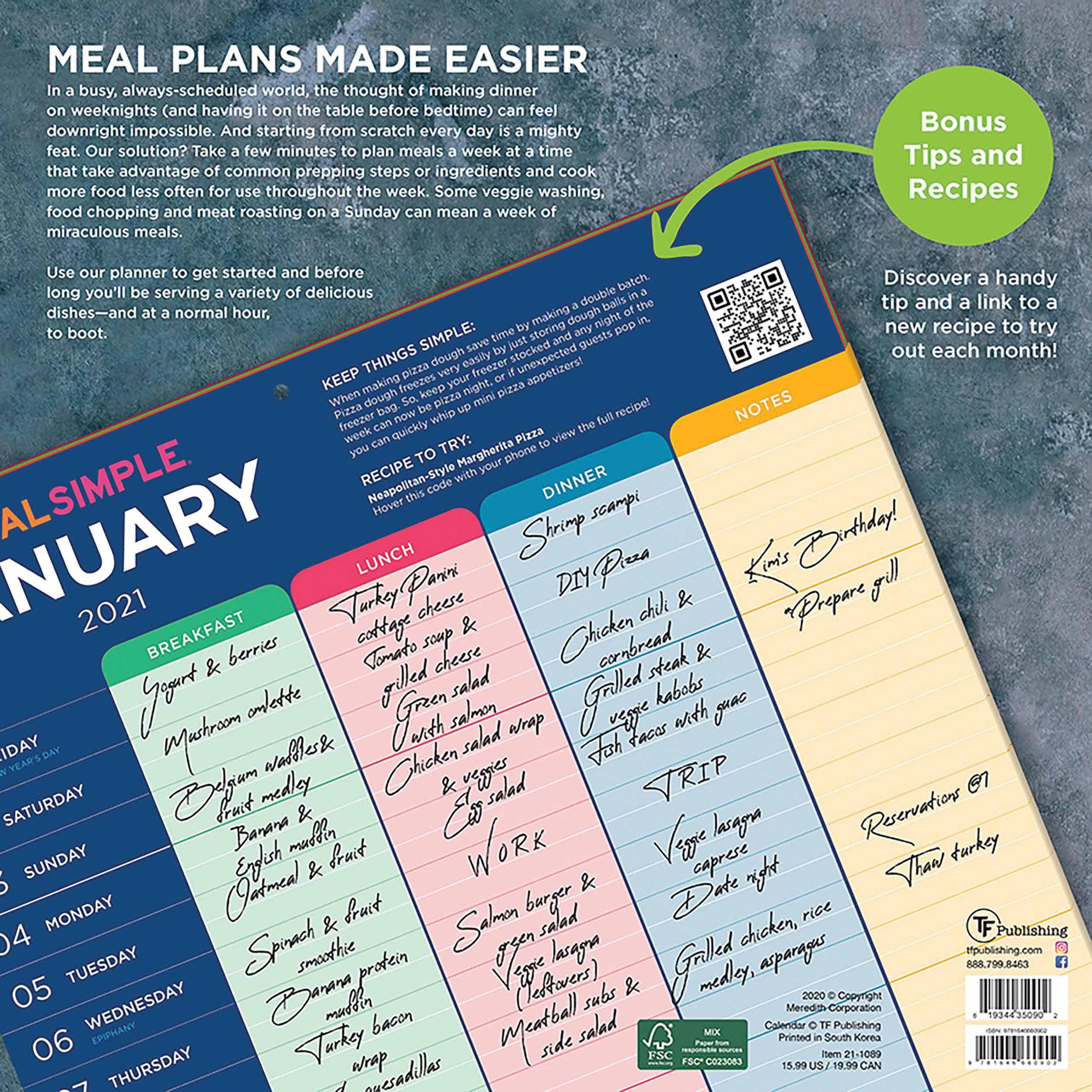 Real Simple, Meal Plans Calendar 2021 At Calendar Club