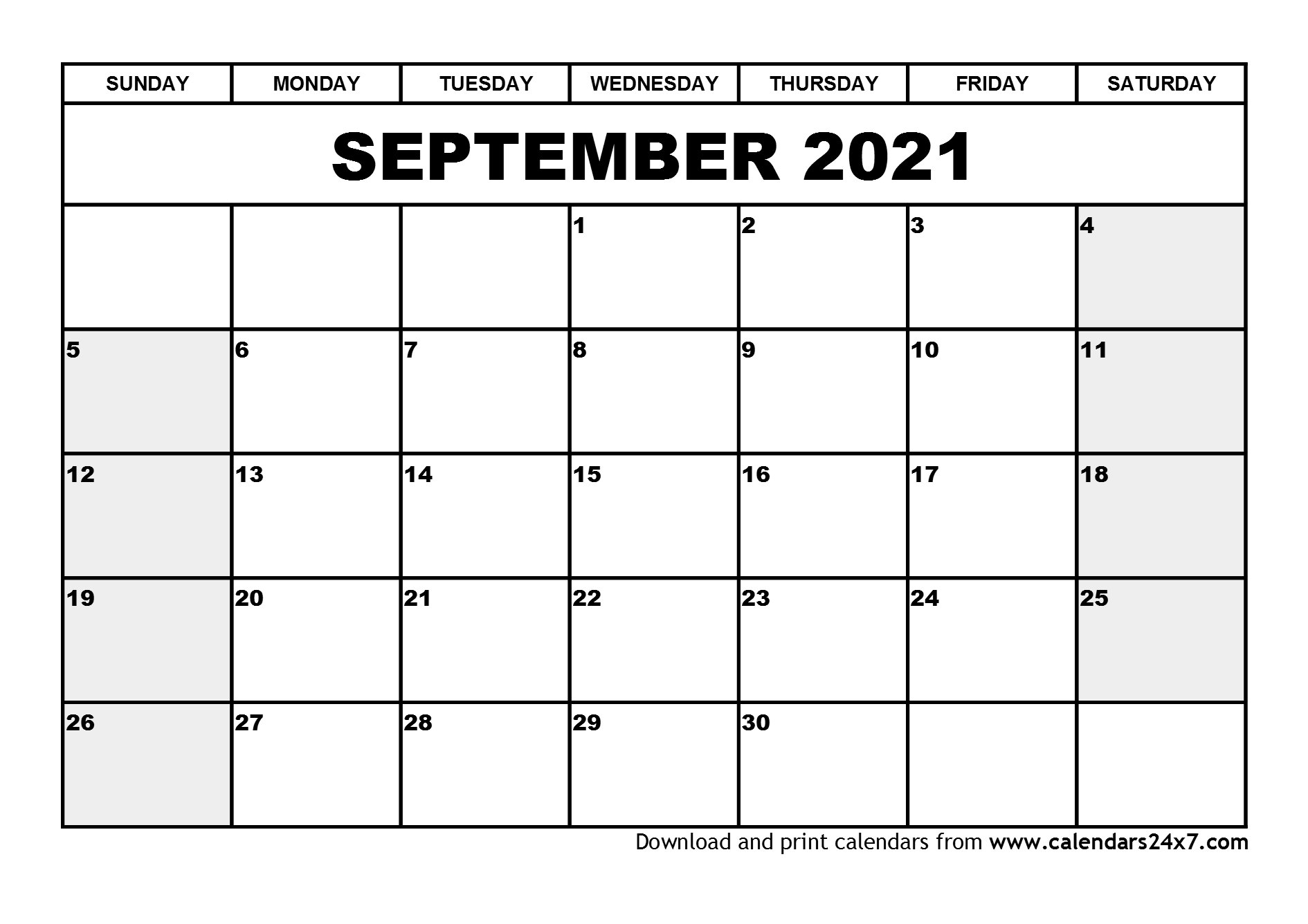 September 2021 Calendar & October 2021 Calendar