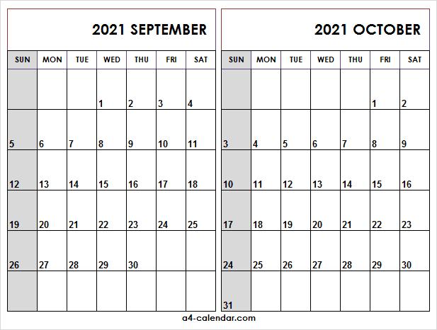 September October 2021 Calendar Printable - A4 Calendar