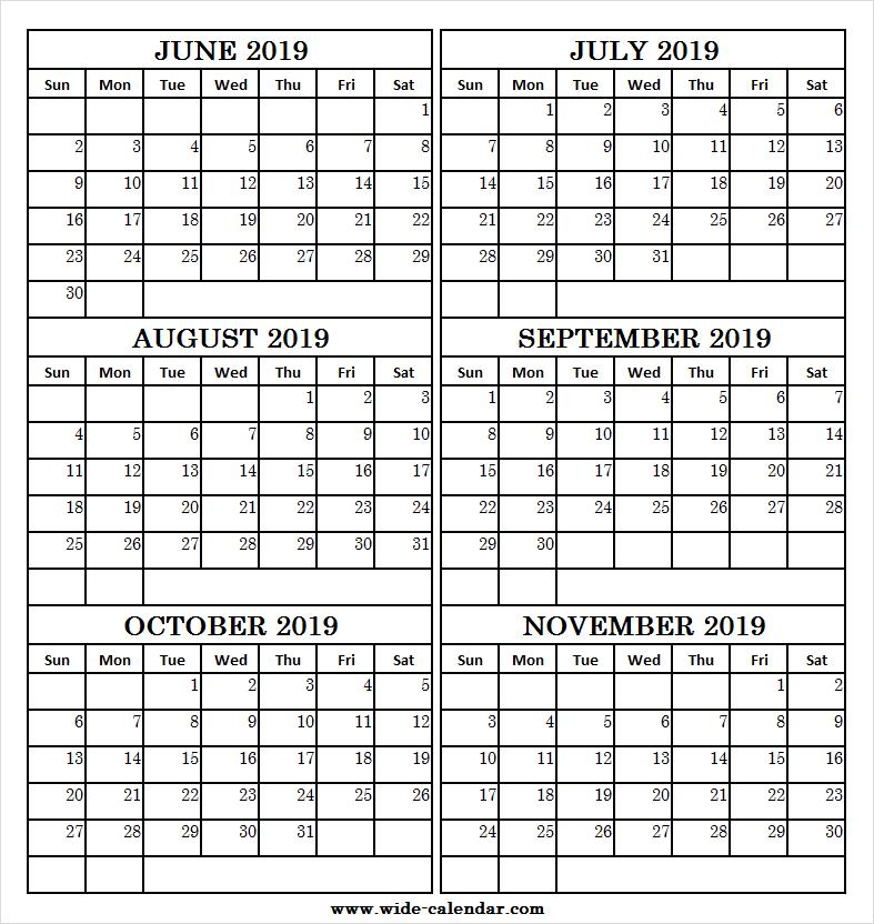 Six Month June November 2019 Calendar Free | 2019 Calendar