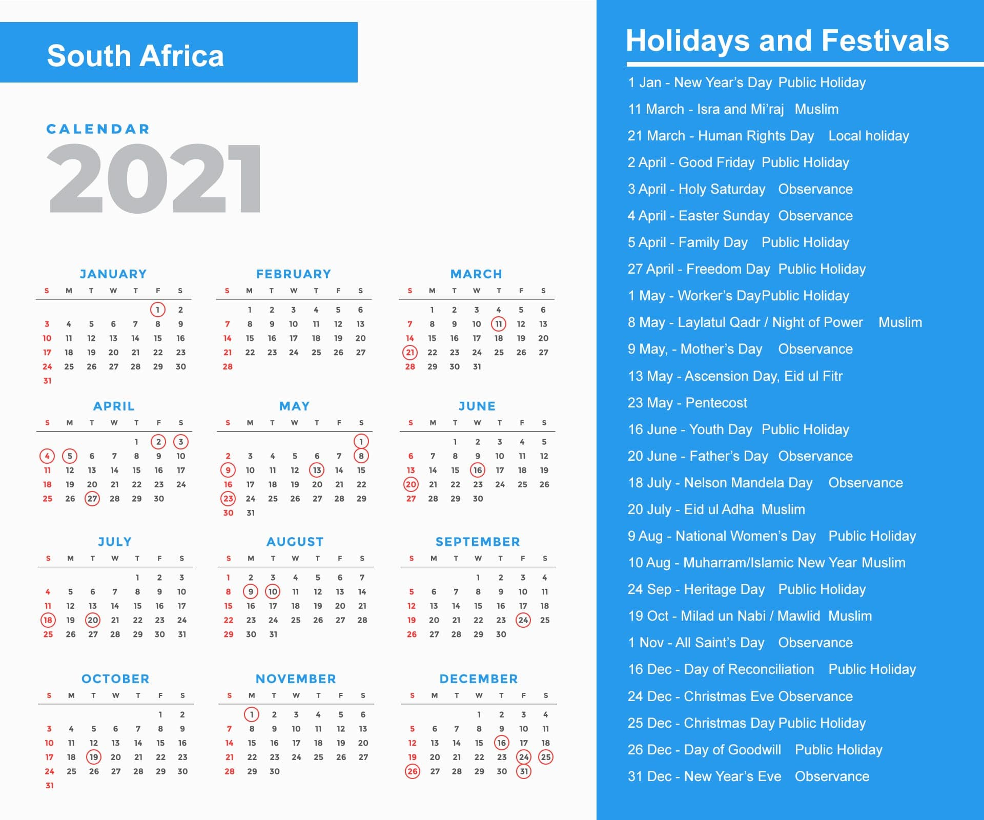 South Africa Holidays 2021 And Observances 2021