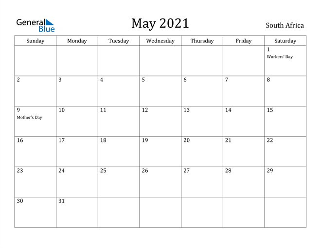 South Africa May 2021 Calendar With Holidays