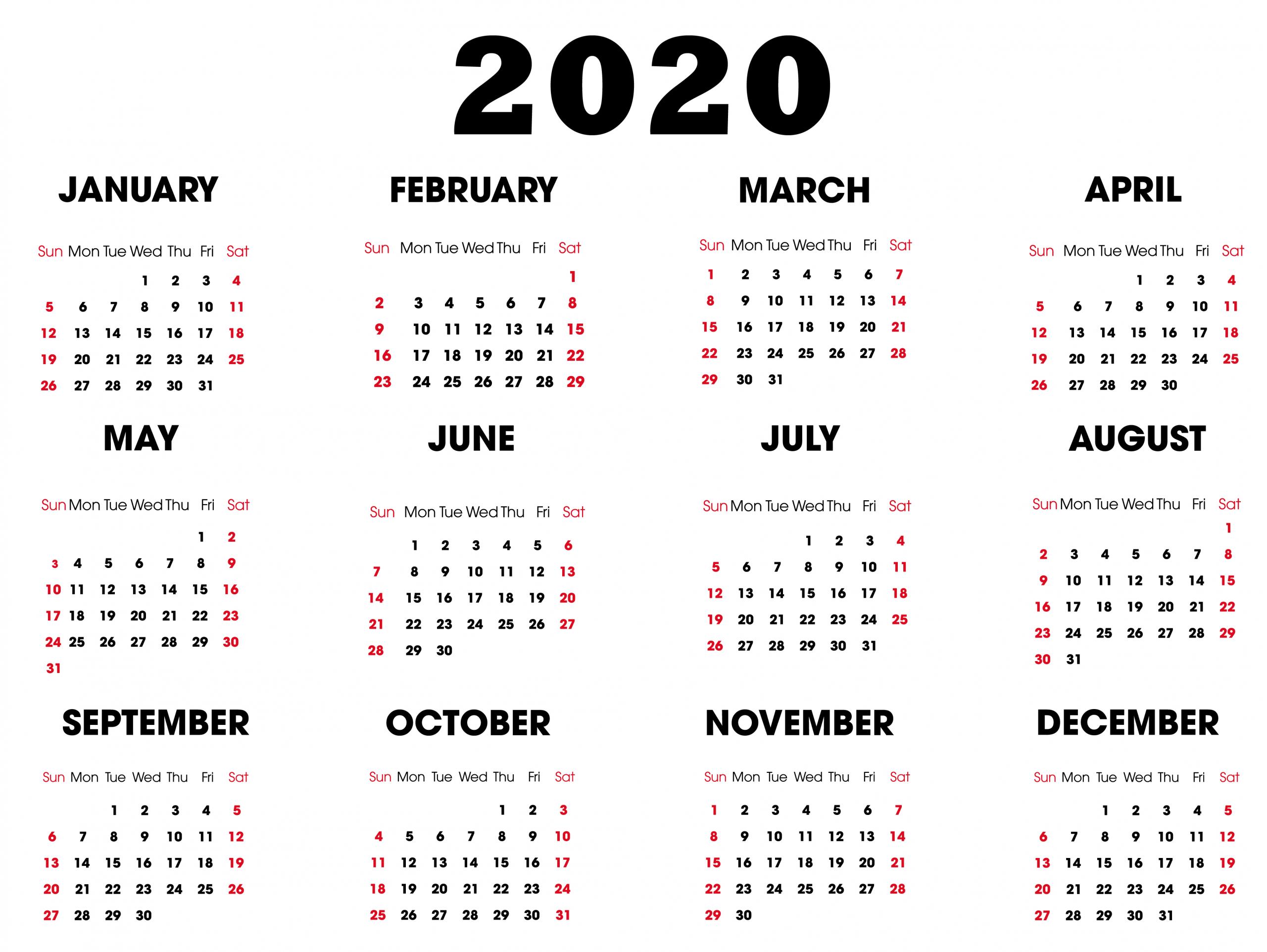 Take 2020/2020 Year To View Calander | Calendar Printables