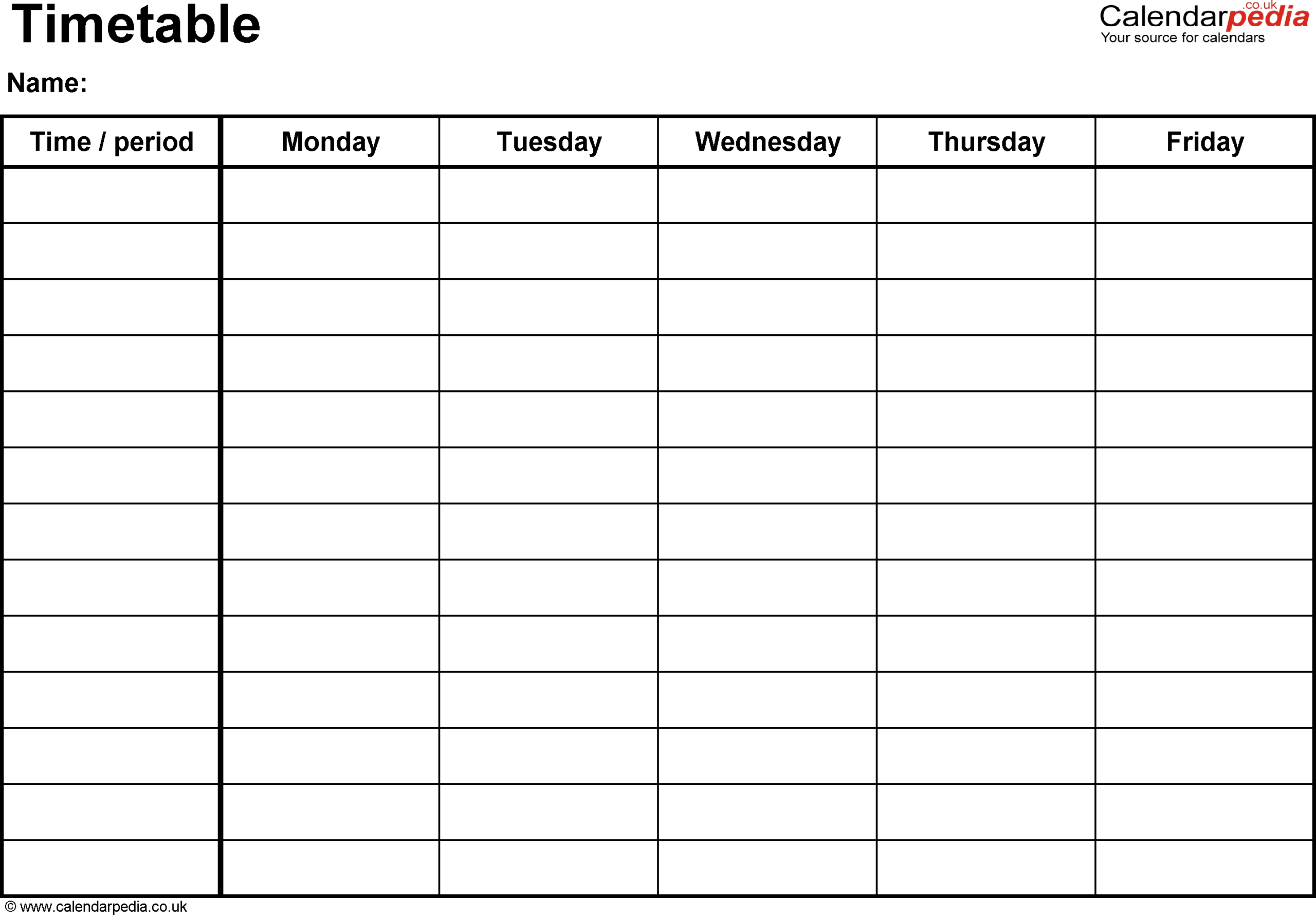 Template For Monday Through Friday School Schedule