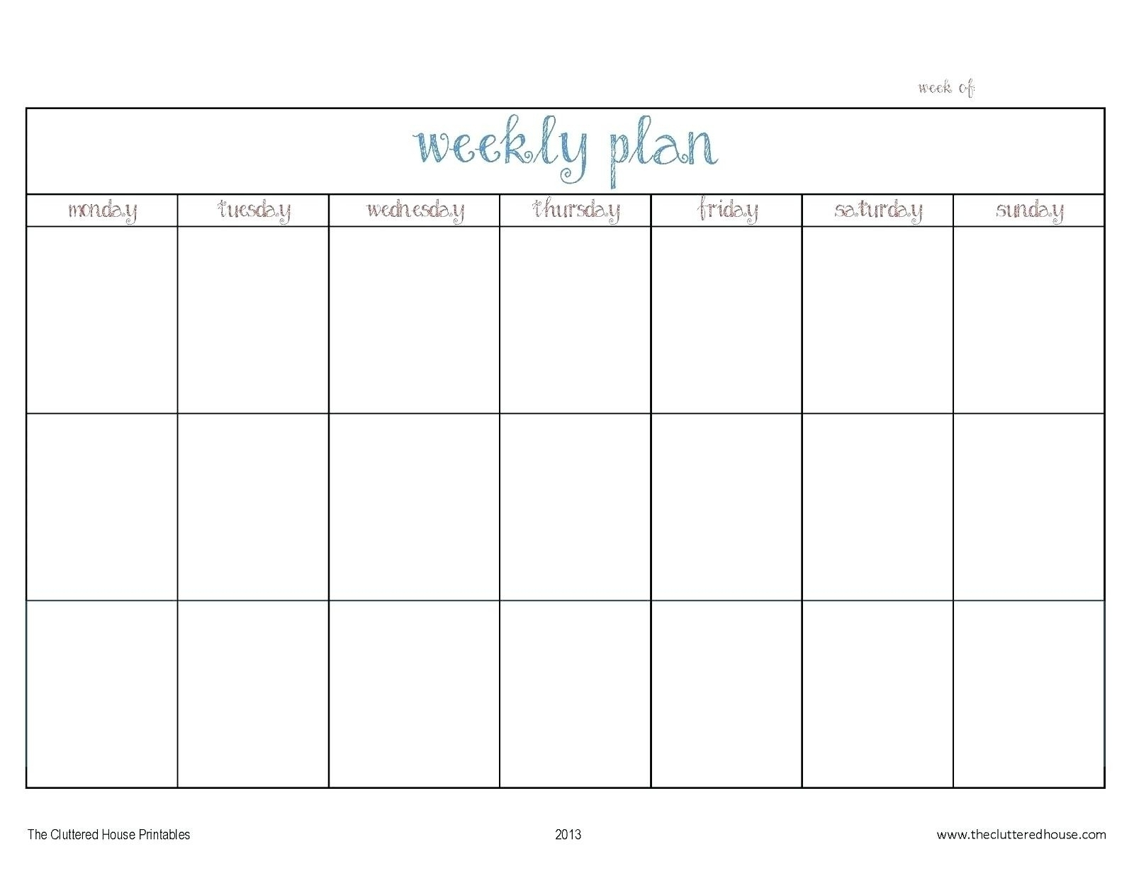 Template For Monday To Friday   Example Calendar Printable
