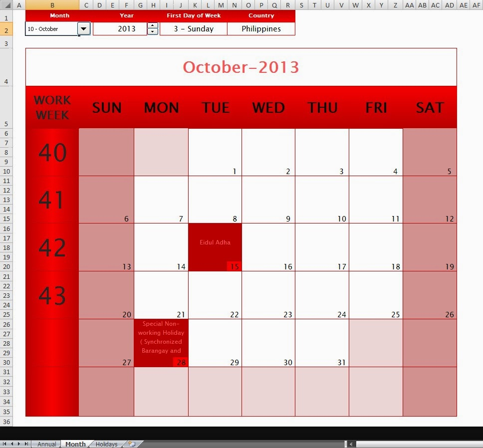 The Ultimate Annual-Monthly Microsoft Excel Calendar Template