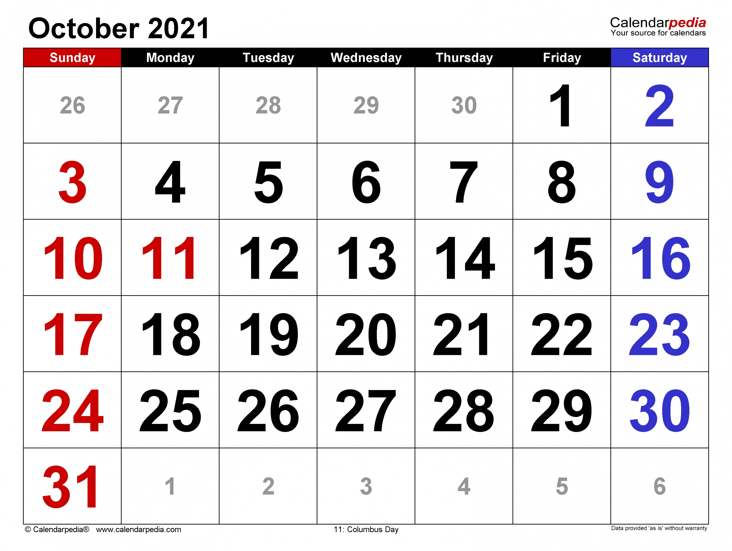 Universal October 2021 Calendar Monday To Friday | Get