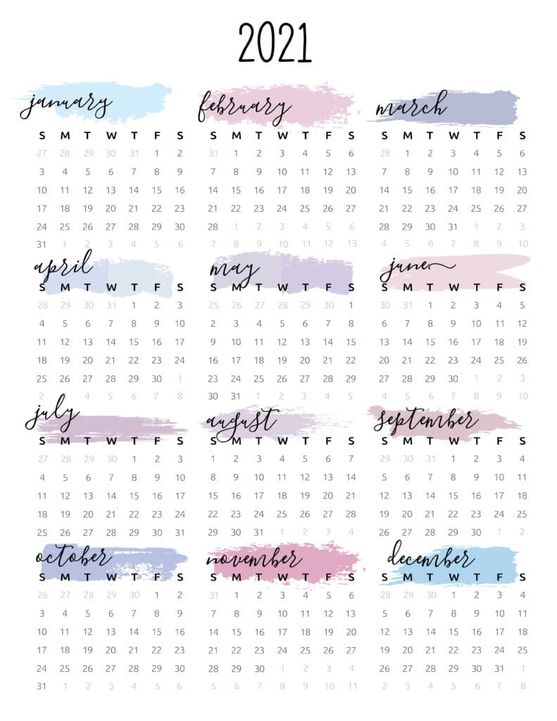 Watercolor One Page 2021 Calendar - World Of Printables