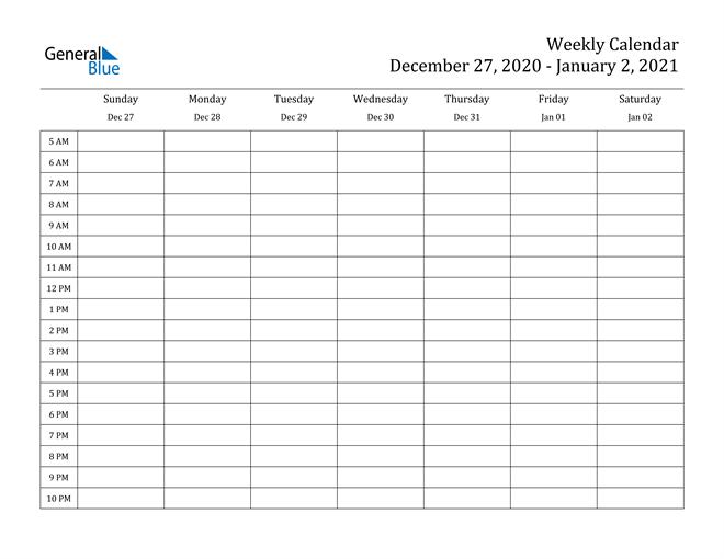 Weekly Calendar - December 27, 2020 To January 2, 2021