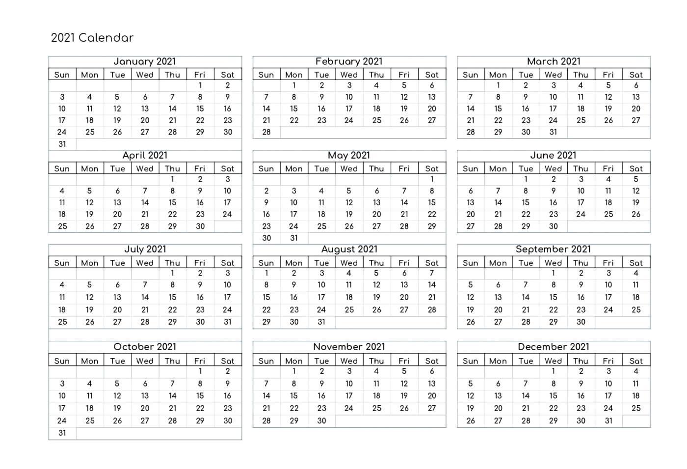 Word Calendar Free Printable Downloadable 2021 Calendar